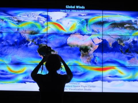 Photo : Image sur grand écran avec les courants dans la Baie de San Francisco