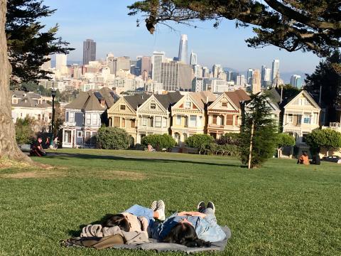 2 personnes allongées dans l'herbe devant les Painted Ladies
