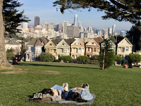 [Photo : 2 personnes allongées dans l'herbe devant les Painted Ladies]