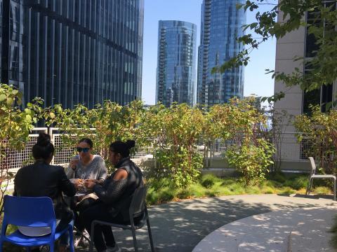Jardin dans le récent quartier de SOMA au milieu des gratte-ciel San Francisco