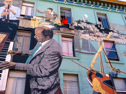 Fresque murale dans le quartier italien de North Beach