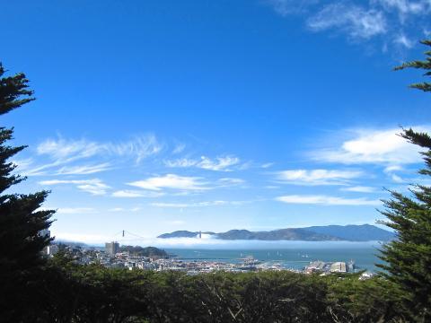 Photos : vue sur le pont du Golden Gate depuis Telegraph Hill