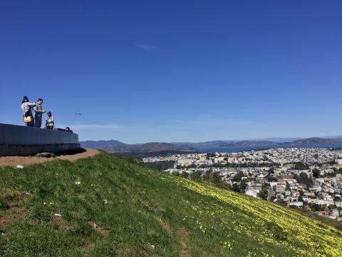 [Photo : Vue à 360° au dessus de San Francisco depuis Twin Peaks]
