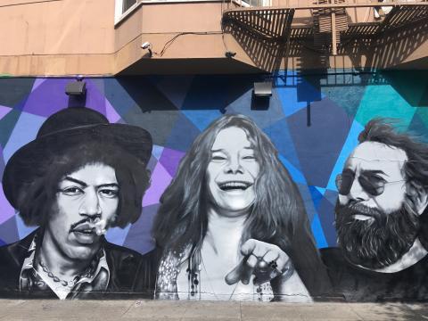 Janis Joplin, Jimi Hendrix et Jerry Garcia des  Grateful Dead