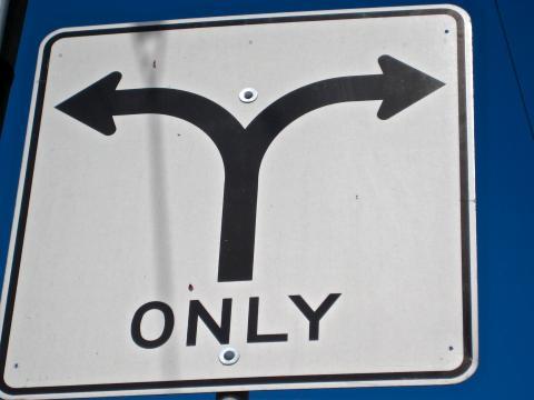"""Photo : Panneau routier avec 2 flèches de direction et le mot """"Only"""""""