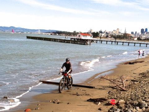 Photo : cycliste sur la plage